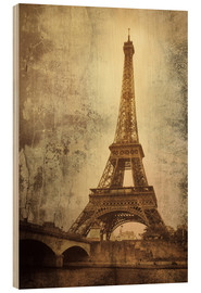 Wood print  Eiffel tower