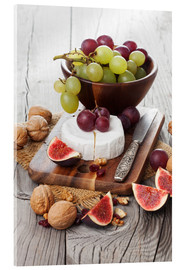 Acrylic print  Camembert cheese with figs, nuts and grapes