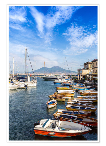 Premium poster Port of Naples and Mount Vesuvius