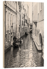 Wood print  Gondola in Venice