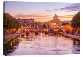 Canvas print  Skyline of Rome in a magenta dawn