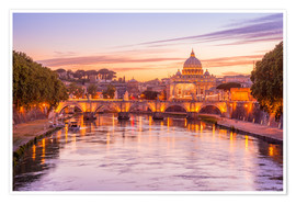 Premium poster  Skyline of Rome in a magenta dawn