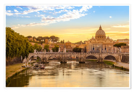 Premium poster  Saint Peter Basilica with Sant'Angelo Bridge