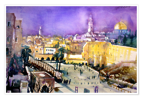 Premium poster Jerusalem, Dome of the Rock with Wailing Wall