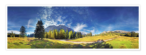 Premium poster 360 ° mountain panorama in the Wettersteingebirge south face with Mieminger chain