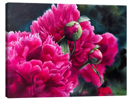 Canvas print  Watercolor pink peonies - Maria Mishkareva