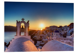 Foam board print  Church of Oia at sunset, Santorini - Circumnavigation