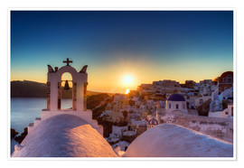 Premium poster Church of Oia at sunset, Santorini