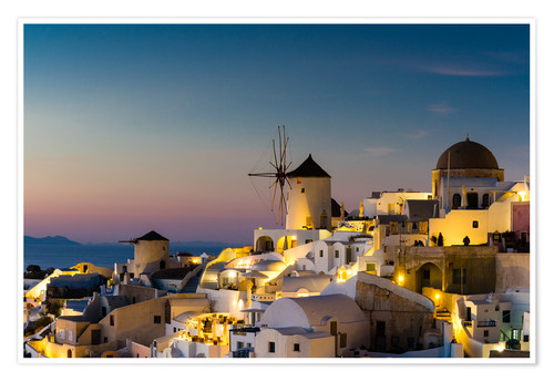 Premium poster Oia at sunset, Santorini, Greece