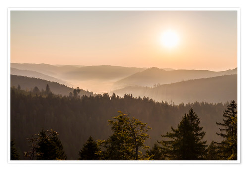 Premium poster Sunrise on the Schliffkopf in the Black Forest