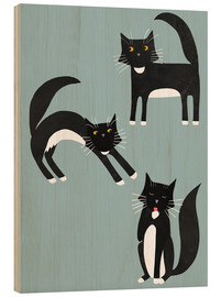 Wood print  Black cats with white paws - Nic Squirrell