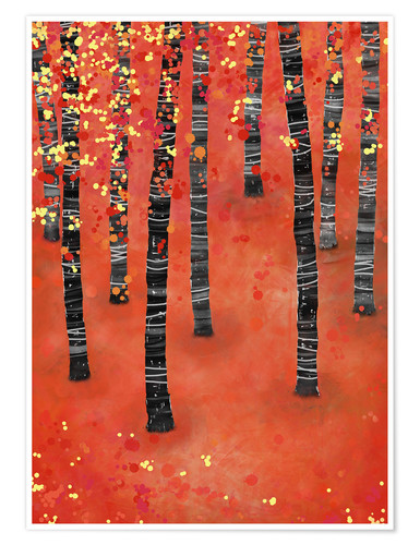 Premium poster Birches in an autumn landscape