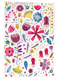 Acrylic print  Summer flowers watercolor - Nic Squirrell