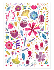 Premium poster Summer flowers watercolor