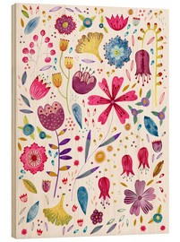 Wood print  Summer flowers watercolor - Nic Squirrell