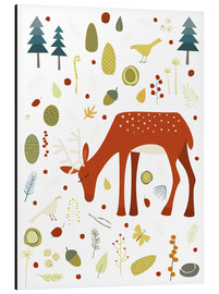 Alu-Dibond  Pretty deer in the autumn forest - Nic Squirrell