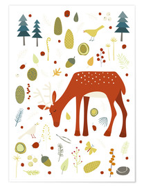 Premium poster Pretty deer in the autumn forest