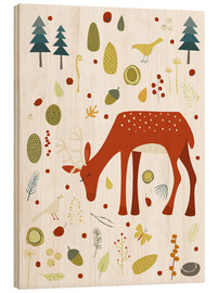 Wood  Deer with Forest Things - Nic Squirrell