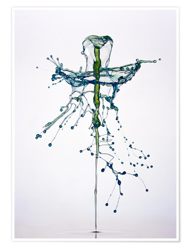 Premium poster Blue water drops fountain