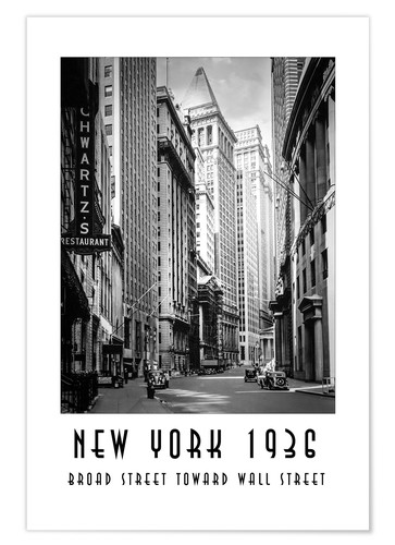 Premium poster Historic New York Broad Street to Wall Street