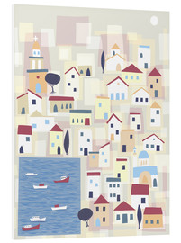 Foam board print  Colorful houses on the island Chalki - Nic Squirrell