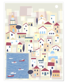 Premium poster Colorful houses on the island Chalki
