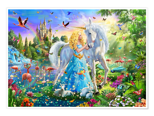 Premium poster The Princess, the unicorn and the castle