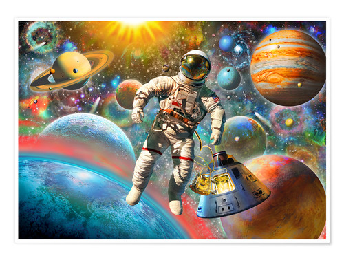 Premium poster Astronaut Floating in Space