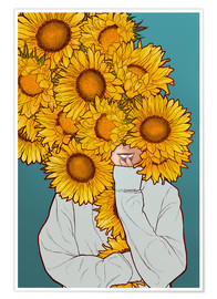 Premium poster  Happy Sunflowers - Paola Morpheus