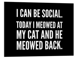 Foam board print  I Can Be Social Today I Meowed At My Cat And He Meowed Back - Creative Angel