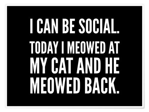 Premium poster I Can Be Social Today I Meowed At My Cat And He Meowed Back
