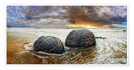Premium poster Moeraki Boulders, South Island, New Zealand, Oceania