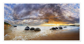 Premium poster Moeraki Boulders Panorama, South Island, New Zealand, Oceania