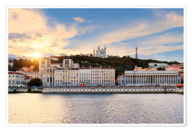 Premium poster  Colorful, cloudy sunset over Vieux Lyon