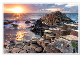 Premium poster  Sunset at Giant's Causeway