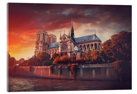 Acrylic print  Sunset at Notre Dame in Paris