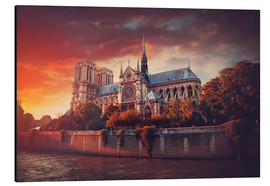 Aluminium print  Sunset at Notre Dame in Paris