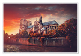 Premium poster  Sunset at Notre Dame in Paris