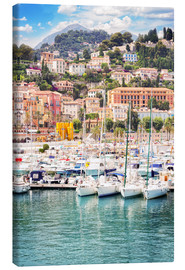 Canvas  colorful houses and yachts in Menton