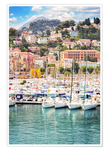 Premium poster colorful houses and yachts in Menton