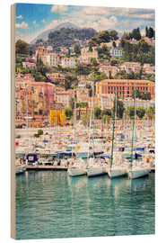 Wood print  colorful houses and yachts in Menton
