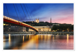 Premium poster View of Saone river at sunset,Lyon, France