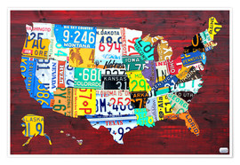 Premium poster License Plate Map of the USA