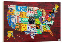 Wood print  License Plate Map of the USA - Design Turnpike