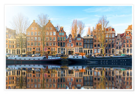 Premium poster Amsterdam morning reflections