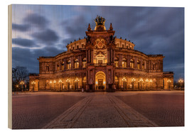 Wood print  Semper Opera Dresden Germany - Achim Thomae
