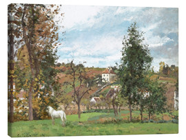 Canvas print  Landscape with a White Horse in a Meadow - Camille Pissarro