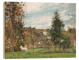 Wood print  Landscape with a White Horse in a Meadow - Camille Pissarro