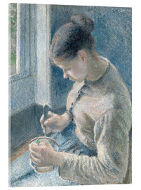 Acrylic glass  Peasant girl drinking her coffee - Camille Pissarro