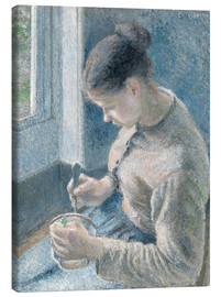 Canvas print  Peasant girl drinking her coffee - Camille Pissarro